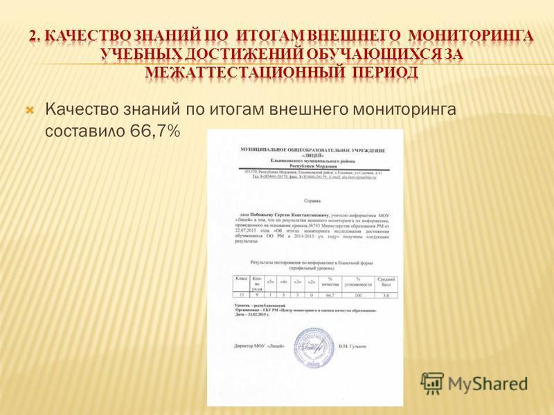 Качество знаний по итогам внешнего мониторинга составило 66,7%