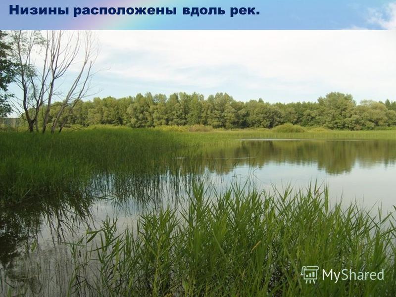 Низины расположены вдоль рек.