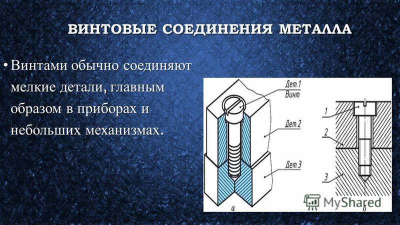 ВИНТОВЫЕ СОЕДИНЕНИЯ МЕТАЛЛА ВИНТОВЫЕ СОЕДИНЕНИЯ МЕТАЛЛА Винтами обычно соединяют мелкие детали, главным образом в приборах и небольших механизмах.Винтами обычно соединяют мелкие детали, главным образом в приборах и небольших механизмах.