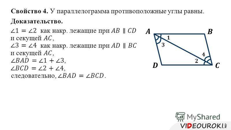 Свойство 4. У параллелограмма противоположные углы равны. Доказательство.