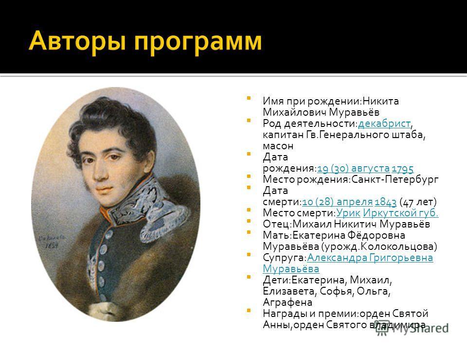 Имя при рождении:Никита Михайлович Муравьёв Род деятельности:декабрист, капитан Гв.Генерального штаба, масондекабрист Дата рождения:19 (30) августа 179519 (30) августа1795 Место рождения:Санкт-Петербург Дата смерти:10 (28) апреля 1843 (47 лет)10 (28)