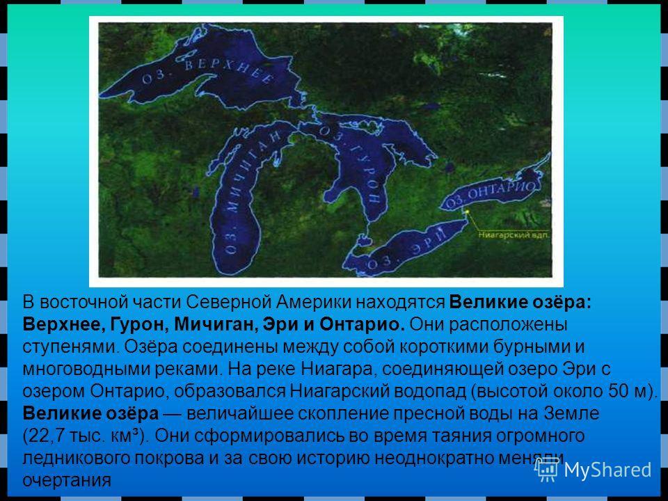 В восточной части Северной Америки находятся Великие озёра: Верхнее, Гурон, Мичиган, Эри и Онтарио. Они расположены ступенями. Озёра соединены между собой короткими бурными и многоводными реками. На реке Ниагара, соединяющей озеро Эри с озером Онтари