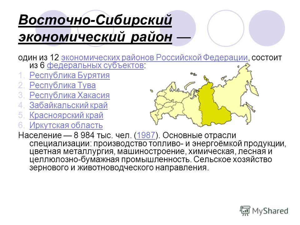 Восточно-Сибирский экономический район один из 12 экономических районов Российской Федерации, состоит из 6 федеральных субъектов:экономических районов Российской Федерациифедеральных субъектов 1. Республика Бурятия Республика Бурятия 2. Республика Ту
