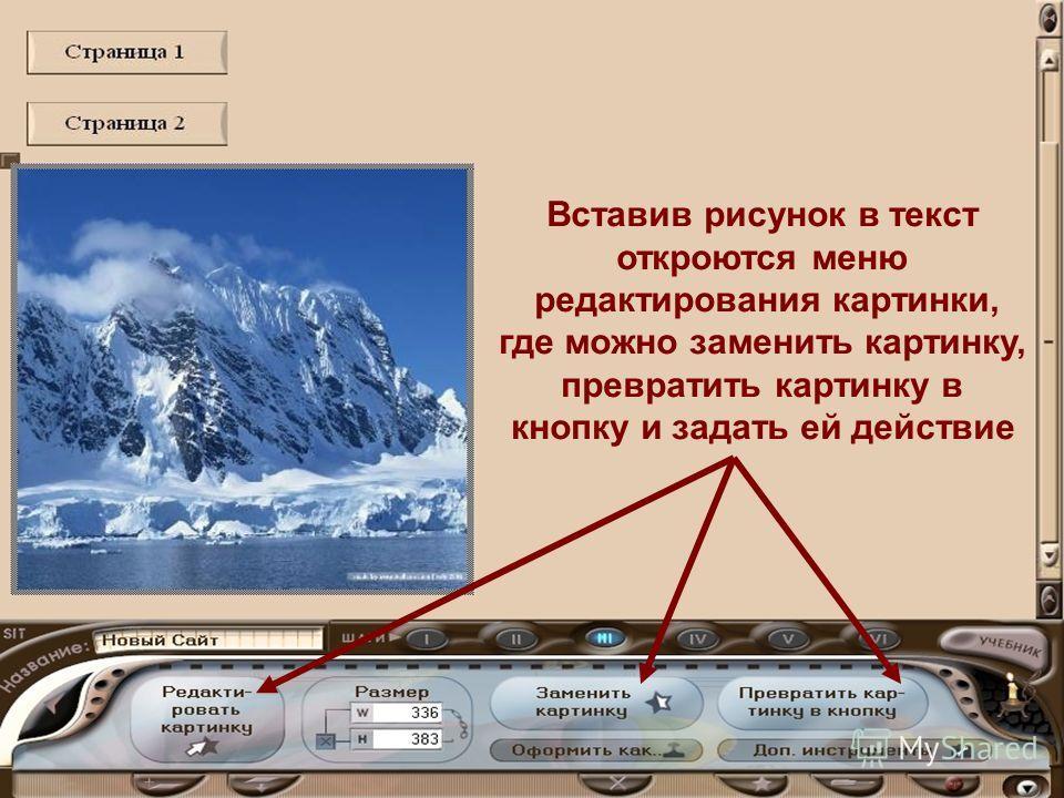 Вставив рисунок в текст откроются меню редактирования картинки, где можно заменить картинку, превратить картинку в кнопку и задать ей действие