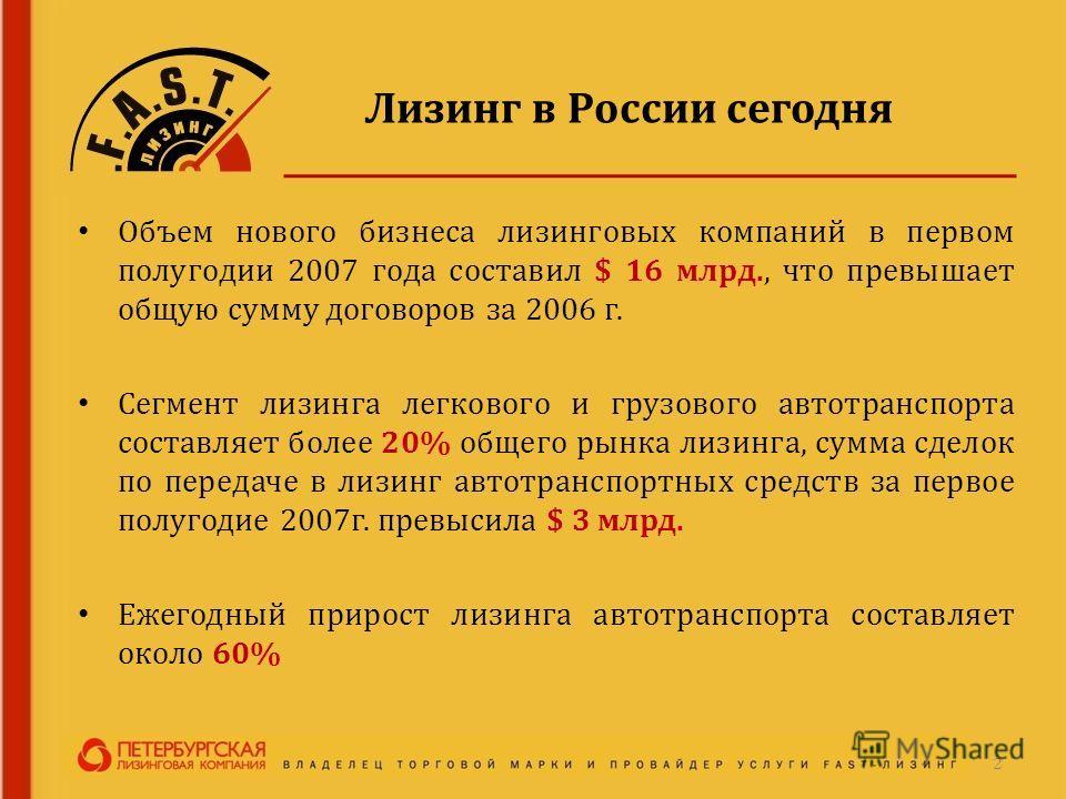 Лизинг в России сегодня Объем нового бизнеса лизинговых компаний в первом полугодии 2007 года составил $ 16 млрд., что превышает общую сумму договоров за 2006 г. Сегмент лизинга легкового и грузового автотранспорта составляет более 20% общего рынка л