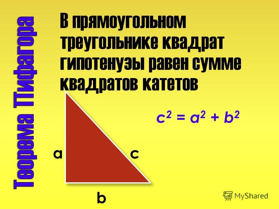В прямоугольном треугольнике квадрат гипотенузы равен сумме квадратов катетов c 2 = a 2 + b 2 a c b
