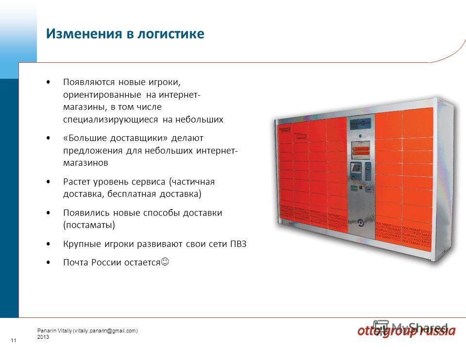 11 Panarin Vitaliy (vitaliy.panarin@gmail.com) 2013 Появляются новые игроки, ориентированные на интернет- магазины, в том числе специализирующиеся на небольших «Большие доставщики» делают предложения для небольших интернет- магазинов Растет уровень с