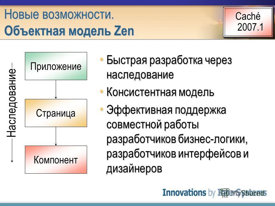 Быстрая разработка через наследование Быстрая разработка через наследование Консистентная модель Консистентная модель Эффективная поддержка совместной работы разработчиков бизнес-логики, разработчиков интерфейсов и дизайнеров Эффективная поддержка со