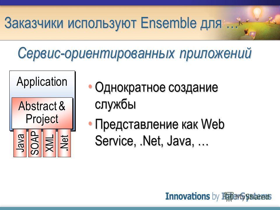 Заказчики используют Ensemble для … Однократное создание службы Однократное создание службы Представление как Web Service,.Net, Java, … Представление как Web Service,.Net, Java, … Сервис-ориентированных приложений ApplicationApplication Abstract & Pr