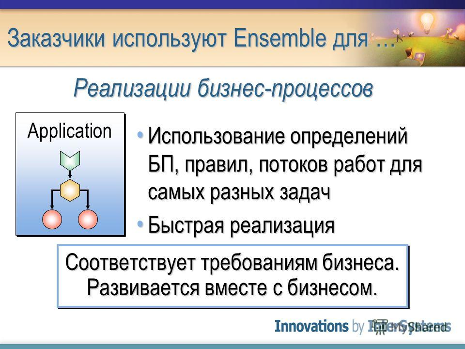 Заказчики используют Ensemble для … Использование определений БП, правил, потоков работ для самых разных задач Использование определений БП, правил, потоков работ для самых разных задач Быстрая реализация Быстрая реализация Соответствует требованиям
