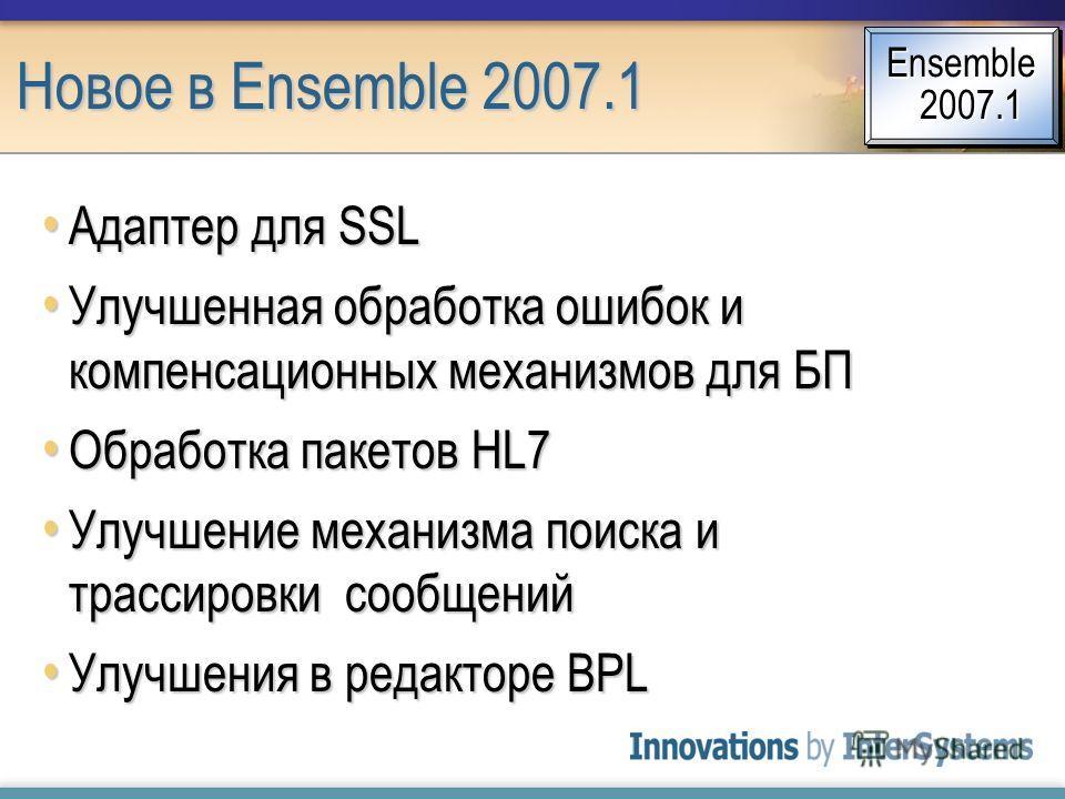 Новое в Ensemble 2007.1 Адаптер для SSL Адаптер для SSL Улучшенная обработка ошибок и компенсационных механизмов для БП Улучшенная обработка ошибок и компенсационных механизмов для БП Обработка пакетов HL7 Обработка пакетов HL7 Улучшение механизма по