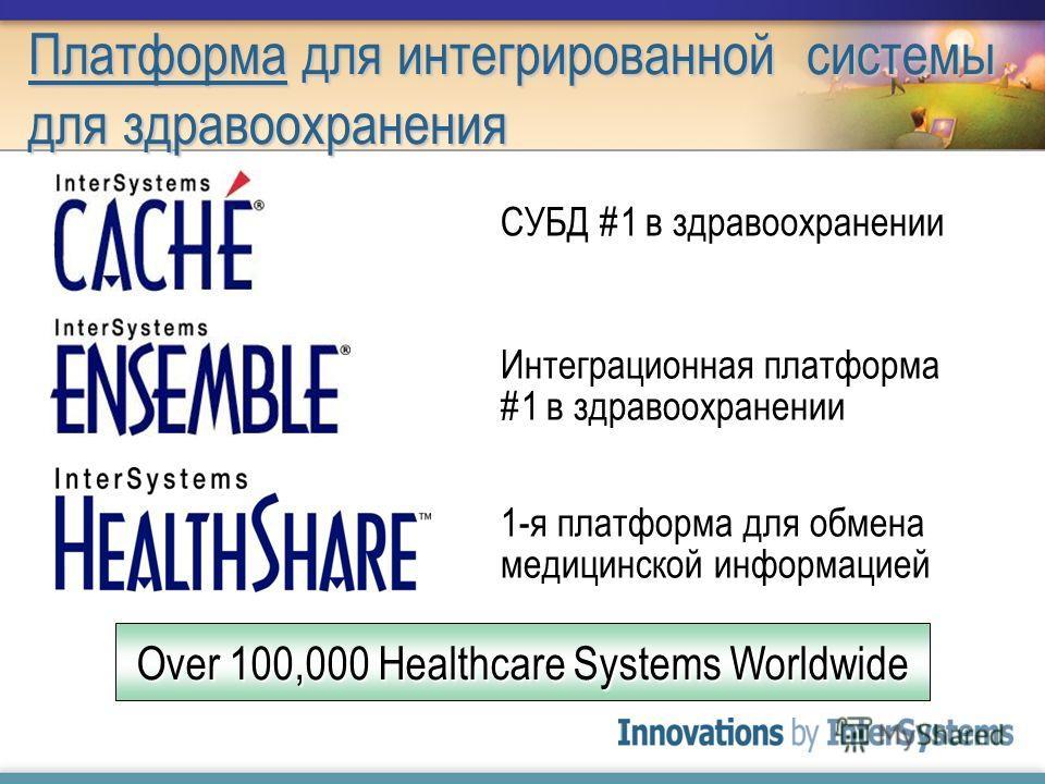 Платформа для интегрированной системы для здравоохранения Интеграционная платформа #1 в здравоохранении 1-я платформа для обмена медицинской информацией СУБД #1 в здравоохранении Over 100,000 Healthcare Systems Worldwide