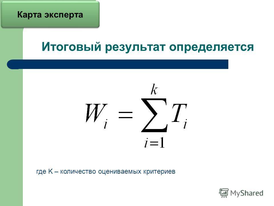 Итоговый результат определяется где K – количество оцениваемых критериев Карта эксперта