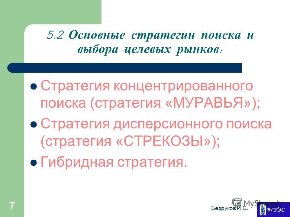 Безруков И.С. 7 5.2 Основные стратегии поиска и выбора целевых рынков : Стратегия концентрированного поиска (стратегия «МУРАВЬЯ»); Стратегия дисперсионного поиска (стратегия «СТРЕКОЗЫ»); Гибридная стратегия.