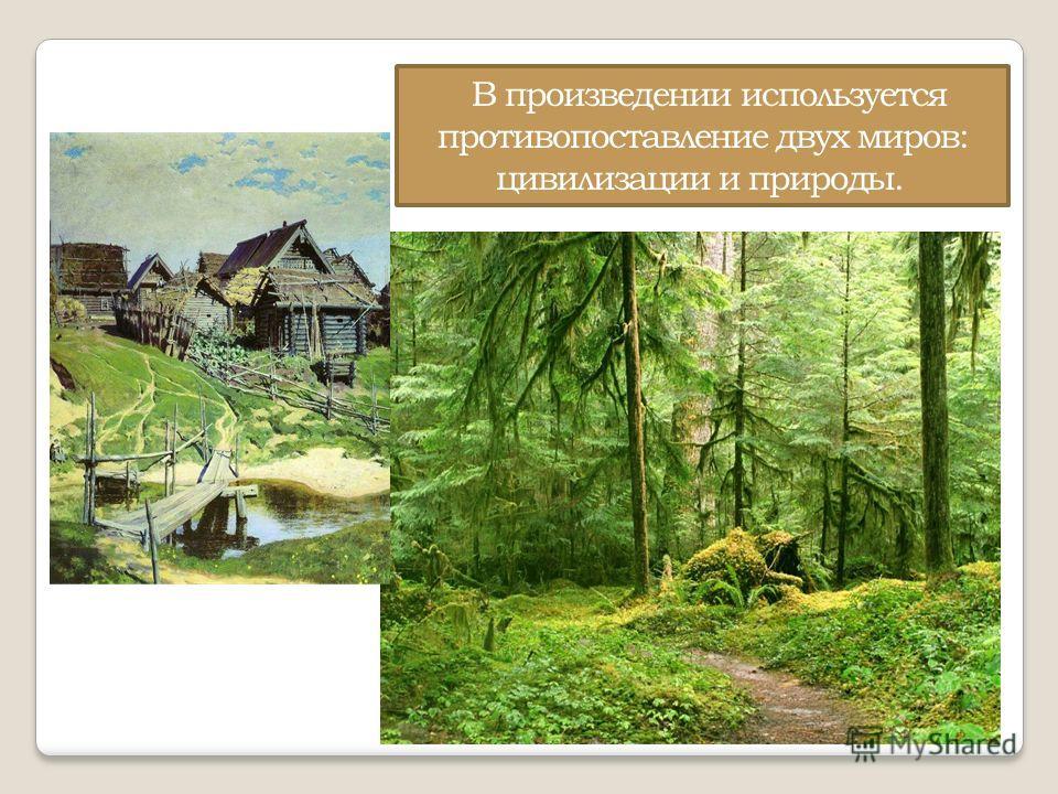 В произведении используется противопоставление двух миров: цивилизации и природы.