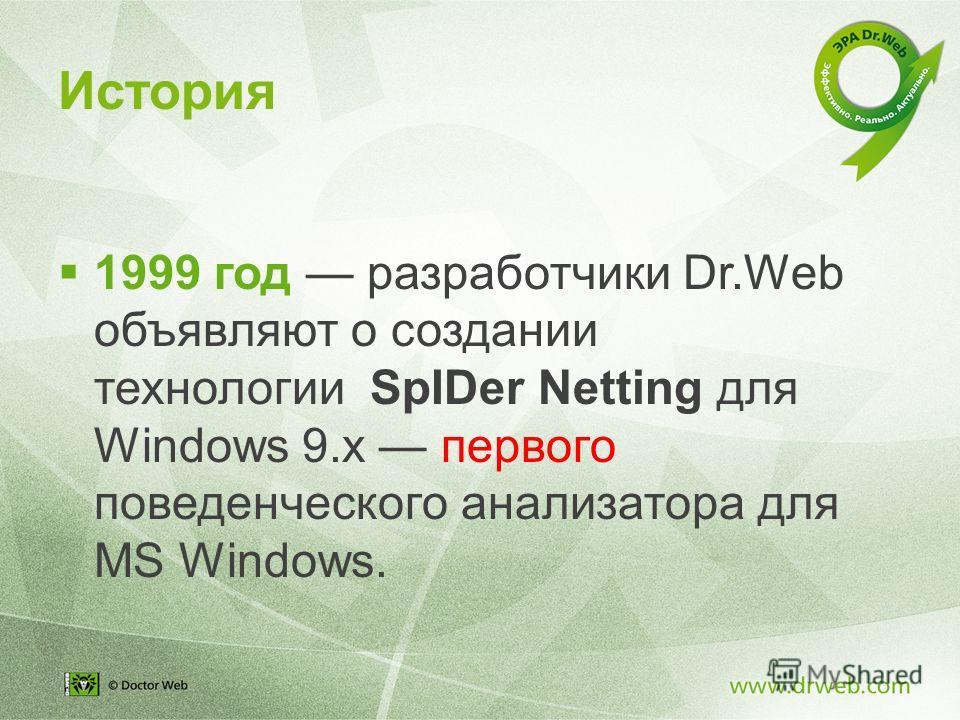 1999 год разработчики Dr.Web объявляют о создании технологии SpIDer Netting для Windows 9. x первого поведенческого анализатора для MS Windows. История