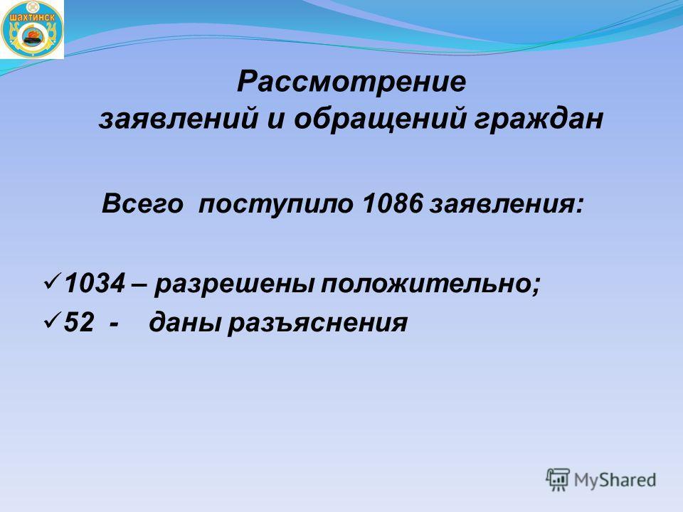 Рассмотрение заявлений и обращений граждан Всего поступило 1086 заявления: 1034 – разрешены положительно; 52 - даны разъяснения