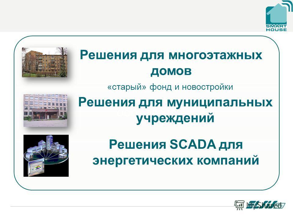 ООО «ЭЛСИС Решения для многоэтажных домов Решения для муниципальных учреждений «старый» фонд и новостройки Решения SCADA для энергетических компаний