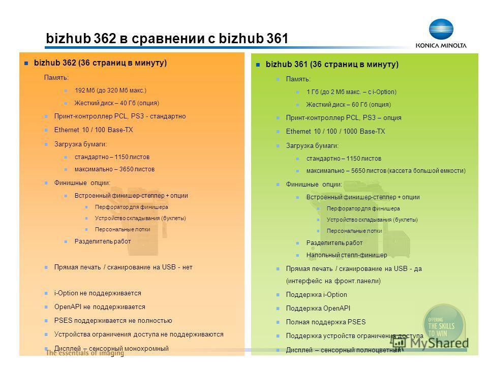 bizhub 361 (36 страниц в минуту) Память: 1 Гб (до 2 Мб макс. – с i-Option) Жесткий диск – 60 Гб (опция) Принт-контроллер PCL, PS3 – опция Ethernet 10 / 100 / 1000 Base-TX Загрузка бумаги: стандартно – 1150 листов максимально – 5650 листов (кассета бо