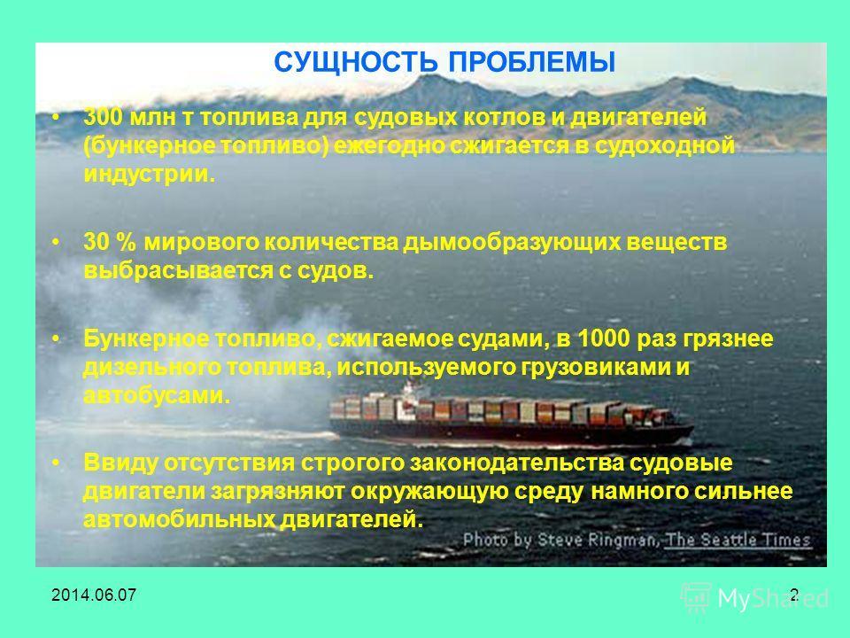 2014.06.072 300 млн т топлива для судовых котлов и двигателей (бункерное топливо) ежегодно сжигается в судоходной индустрии. 30 % мирового количества дымообразующих веществ выбрасывается с судов. Бункерное топливо, сжигаемое судами, в 1000 раз грязне