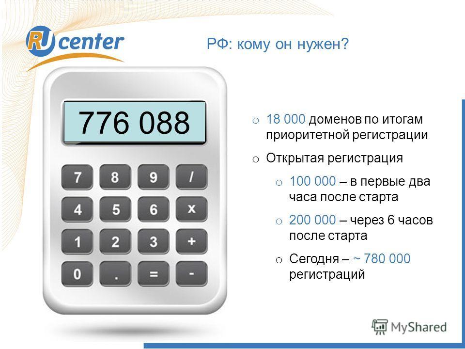 РФ: кому он нужен? 776 088 o 18 000 доменов по итогам приоритетной регистрации o Открытая регистрация o 100 000 – в первые два часа после старта o 200 000 – через 6 часов после старта o Сегодня – ~ 780 000 регистраций