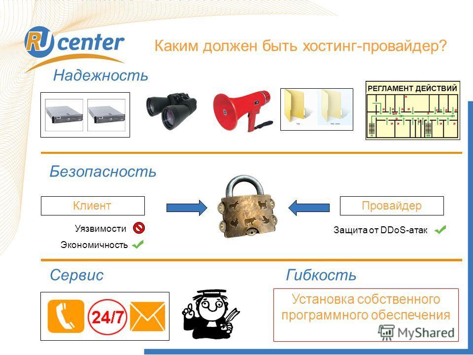Каким должен быть хостинг-провайдер? Надежность Безопасность Клиент Провайдер Экономичность Уязвимости Защита от DDoS-атак Сервис Гибкость Установка собственного программного обеспечения