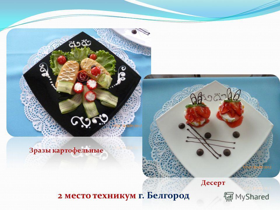 2 место техникум г. Белгород Зразы картофельные Десерт
