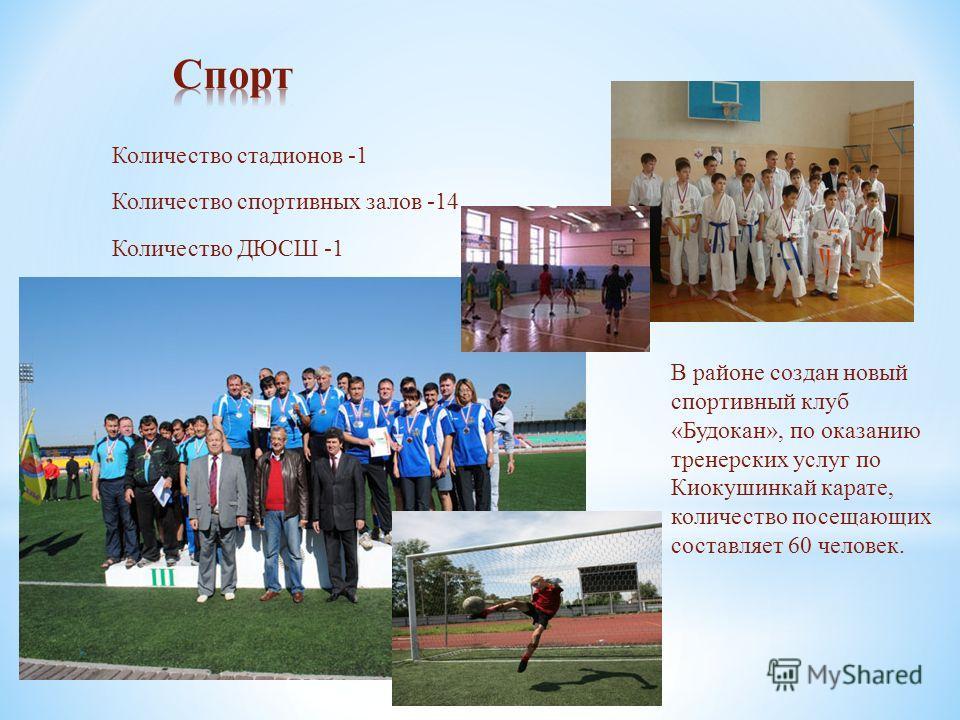Количество стадионов -1 Количество спортивных залов -14 Количество ДЮСШ -1 В районе создан новый спортивный клуб «Будокан», по оказанию тренерских услуг по Киокушинкай карате, количество посещающих составляет 60 человек.
