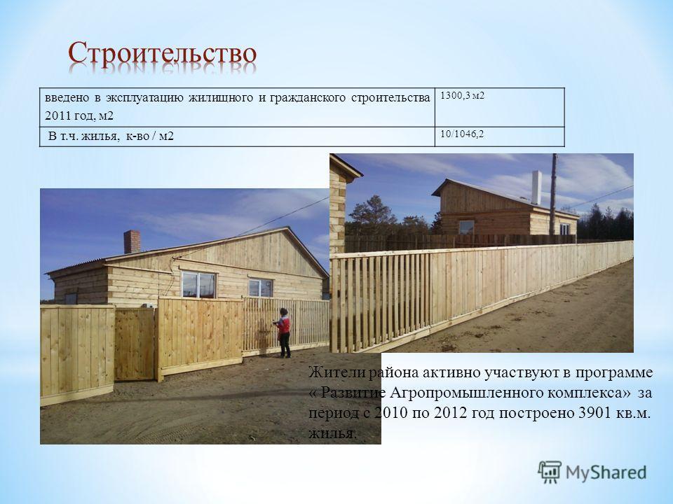 Жители района активно участвуют в программе « Развитие Агропромышленного комплекса» за период с 2010 по 2012 год построено 3901 кв.м. жилья. введено в эксплуатацию жилищного и гражданского строительства 2011 год, м 2 1300,3 м 2 В т.ч. жилья, к-во / м