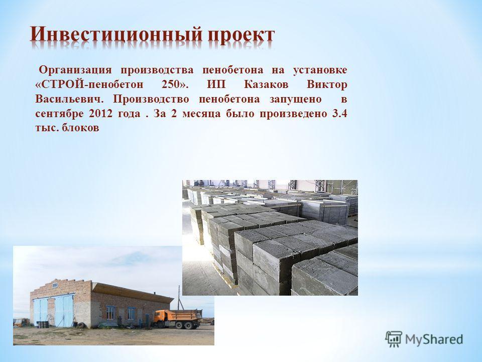 Организация производства пенобетона на установке «СТРОЙ-пенобетон 250». ИП Казаков Виктор Васильевич. Производство пенобетона запущено в сентябре 2012 года. За 2 месяца было произведено 3.4 тыс. блоков