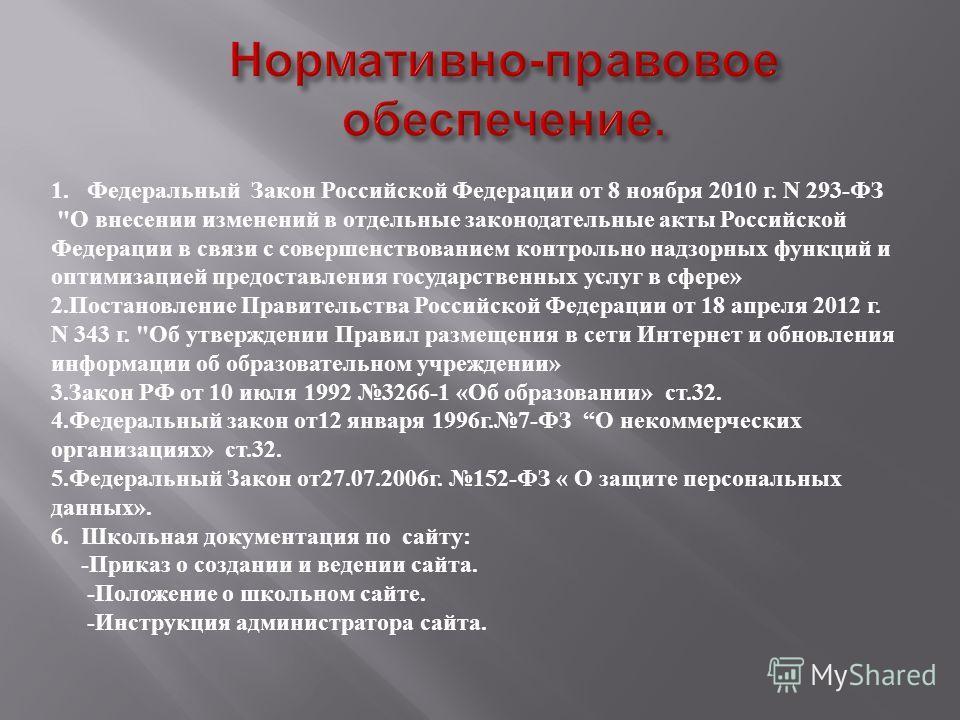 1. Федеральный Закон Российской Федерации от 8 ноября 2010 г. N 293-ФЗ