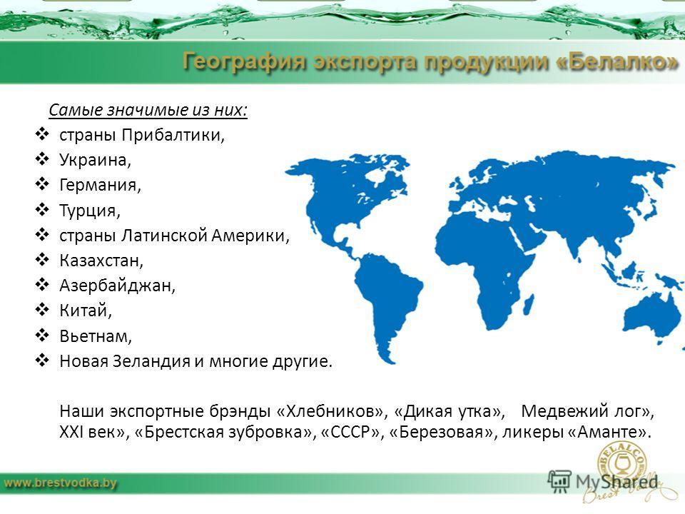 Самые значимые из них: страны Прибалтики, Украина, Германия, Турция, страны Латинской Америки, Казахстан, Азербайджан, Китай, Вьетнам, Новая Зеландия и многие другие. Наши экспортные брэнды «Хлебников», «Дикая утка», Медвежий лог», ХXI век», «Брестск