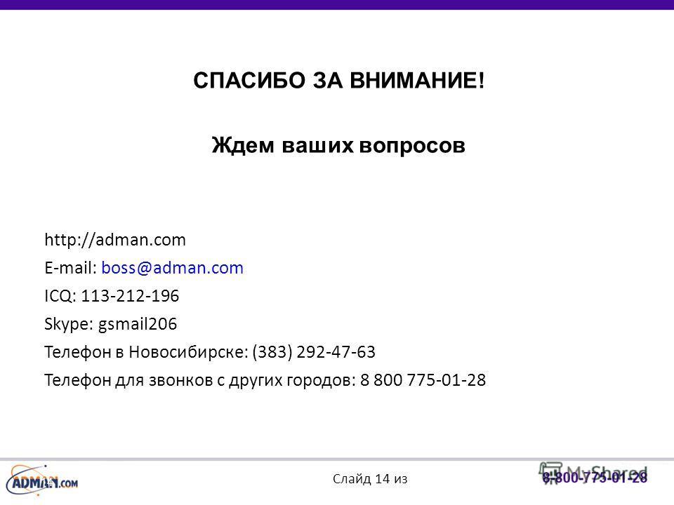 14 СПАСИБО ЗА ВНИМАНИЕ! Ждем ваших вопросов http://adman.com E-mail: boss@adman.com ICQ: 113-212-196 Skype: gsmail206 Телефон в Новосибирске: (383) 292-47-63 Телефон для звонков с других городов: 8 800 775-01-28 Слайд 14 из