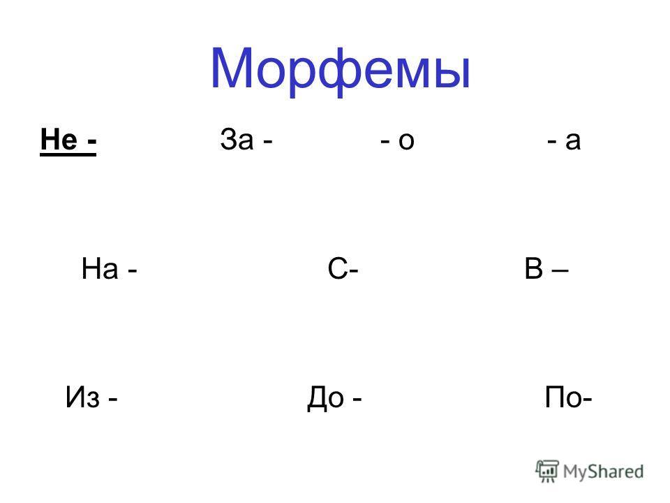 Морфемы Не - За - - о - а На - С- В – Из - До - По-