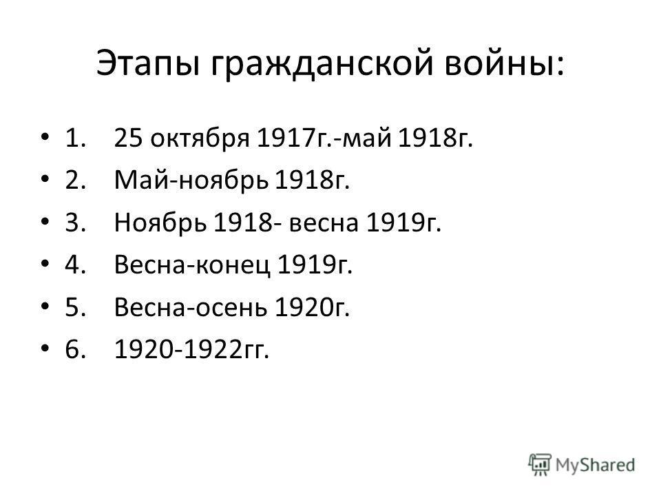 Этапы гражданской войны: 1. 25 октября 1917г.-май 1918г. 2. Май-ноябрь 1918г. 3. Ноябрь 1918- весна 1919г. 4. Весна-конец 1919г. 5. Весна-осень 1920г. 6. 1920-1922гг.