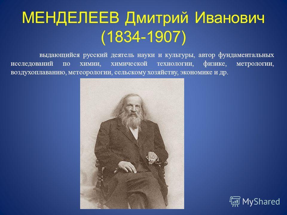 МЕНДЕЛЕЕВ Дмитрий Иванович (1834-1907) выдающийся русский деятель науки и культуры, автор фундаментальных исследований по химии, химической технологии, физике, метрологии, воздухоплаванию, метеорологии, сельскому хозяйству, экономике и др.