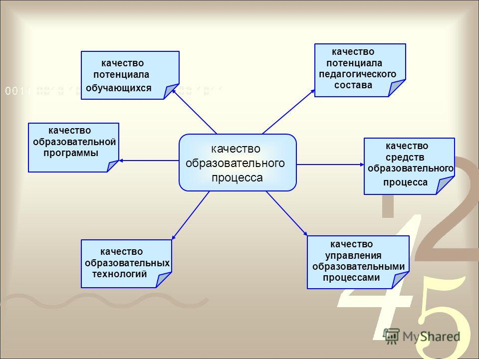 качество образовательного процесса качество образовательной программы качество потенциала обучающихся качество потенциала педагогического состава качество средств образовательного процесса качество образовательных технологий качество управления образ