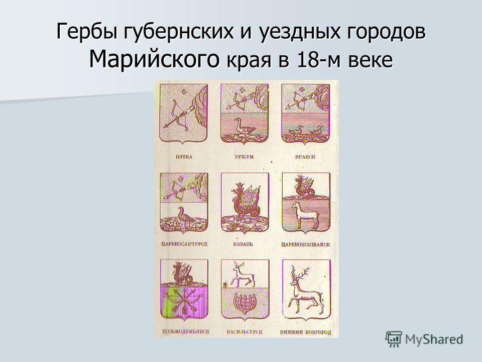 Гербы губернских и уездных городов Марийского края в 18-м веке