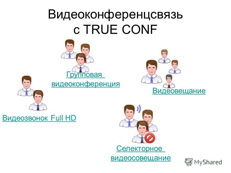 Видеоконференцсвязь с TRUE CONF Селекторное видеосовещание Видеозвонок Full HD Групповая видеоконференция Видеовещание