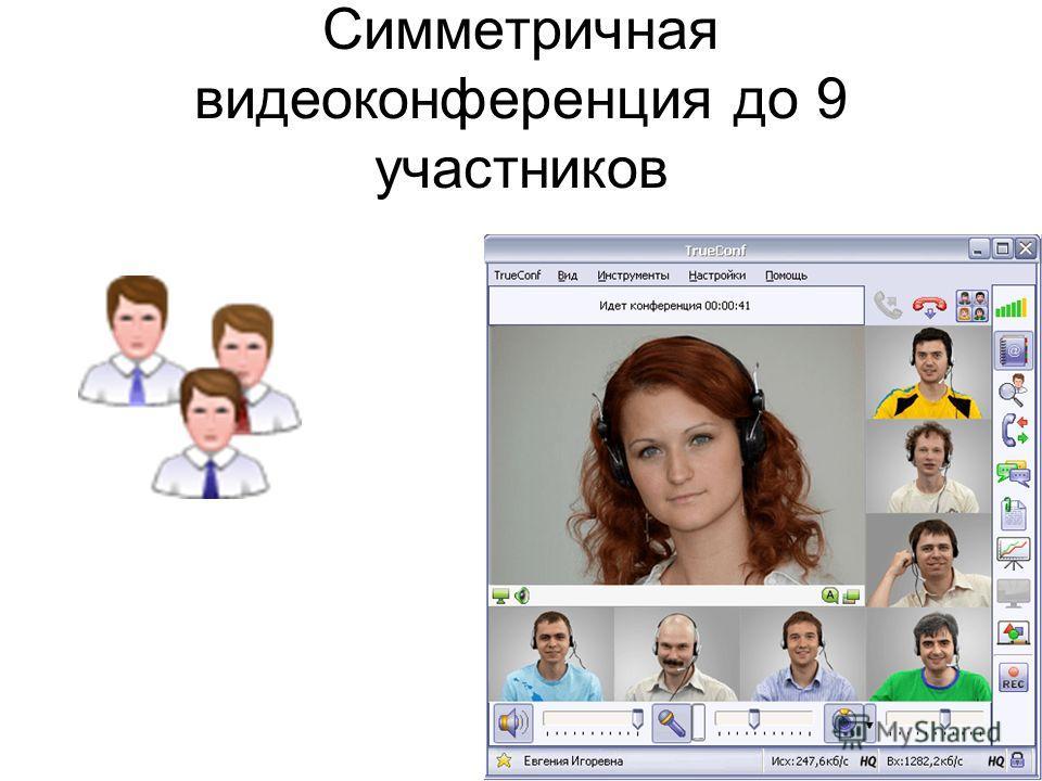 Симметричная видеоконференция до 9 участников