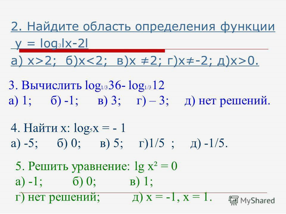 2. Найдите область определения функции у = log 3 lx-2l а) х>2; б)х 0. 3. Вычислить log 1/3 36- log 1/3 12 а) 1; б) -1; в) 3; г) – 3; д) нет решений. 4. Найти х: log 5 х = - 1 а) -5; б) 0; в) 5; г)1/5 ; д) -1/5. 5. Решить уравнение: lg х² = 0 а) -1; б