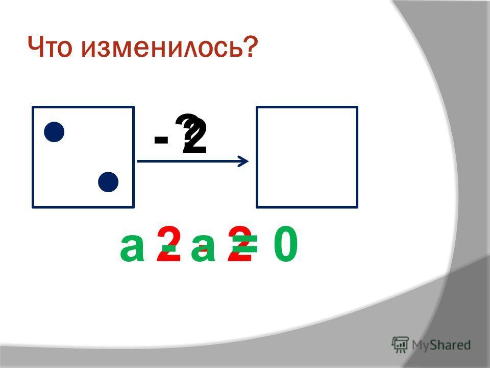 Что изменилось? ? - 2 2 - 2а - а = 0