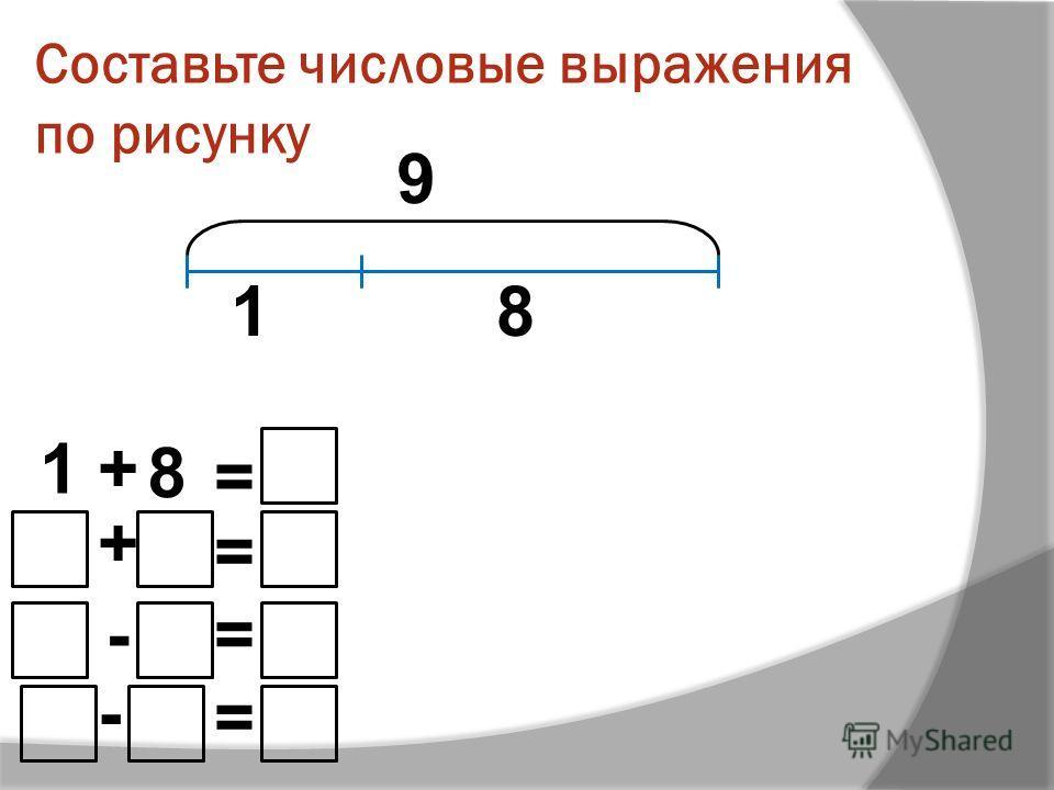 Составьте числовые выражения по рисунку 1+ 8 = + = -= - = 9 18