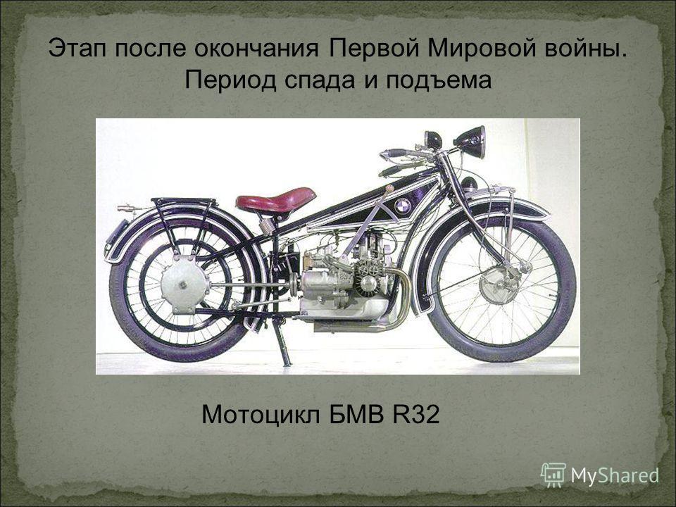 Этап после окончания Первой Мировой войны. Период спада и подъема Мотоцикл БМВ R32