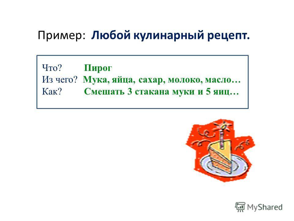 Пример: Любой кулинарный рецепт. Что? Пирог Из чего? Мука, яйца, сахар, молоко, масло… Как? Смешать 3 стакана муки и 5 яиц…