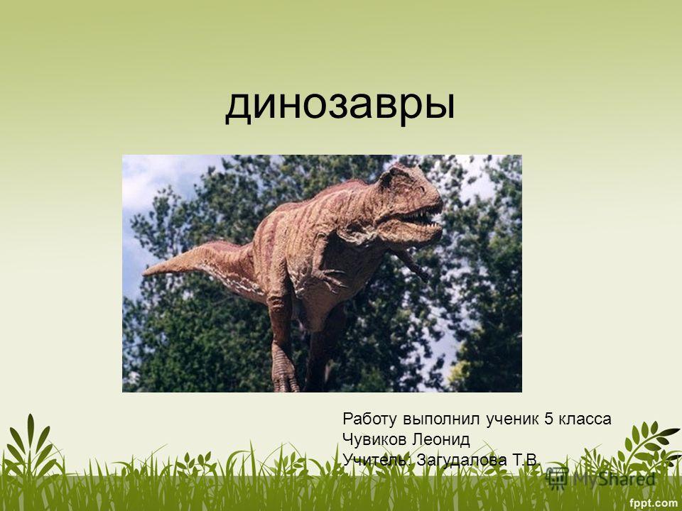 динозавры Работу выполнил ученик 5 класса Чувиков Леонид Учитель: Загудалова Т.В.
