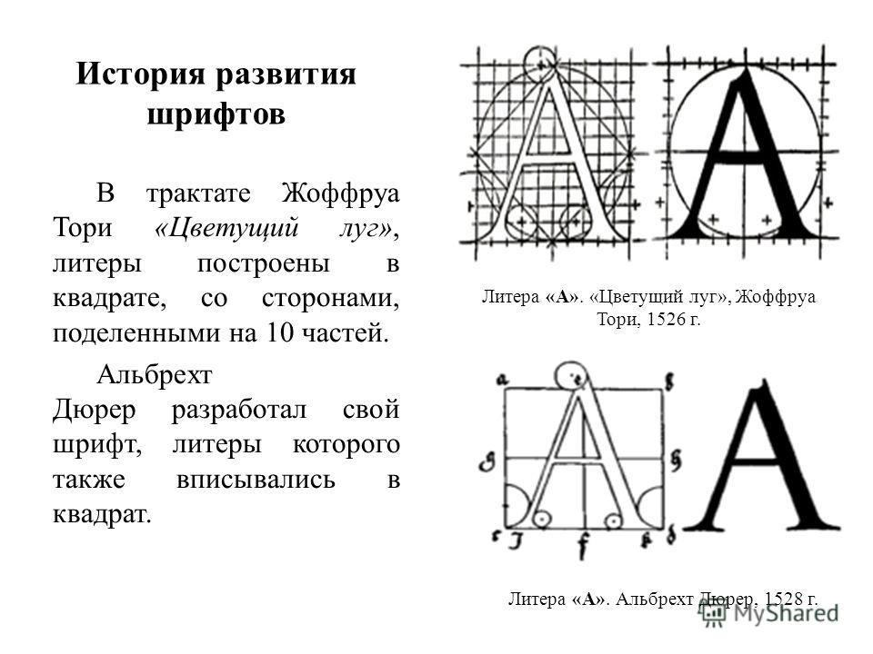 История развития шрифтов В трактате Жоффруа Тори «Цветущий луг», литеры построены в квадрате, со сторонами, поделенными на 10 частей. Альбрехт Дюрер разработал свой шрифт, литеры которого также вписывались в квадрат. Литера «А». «Цветущий луг», Жоффр