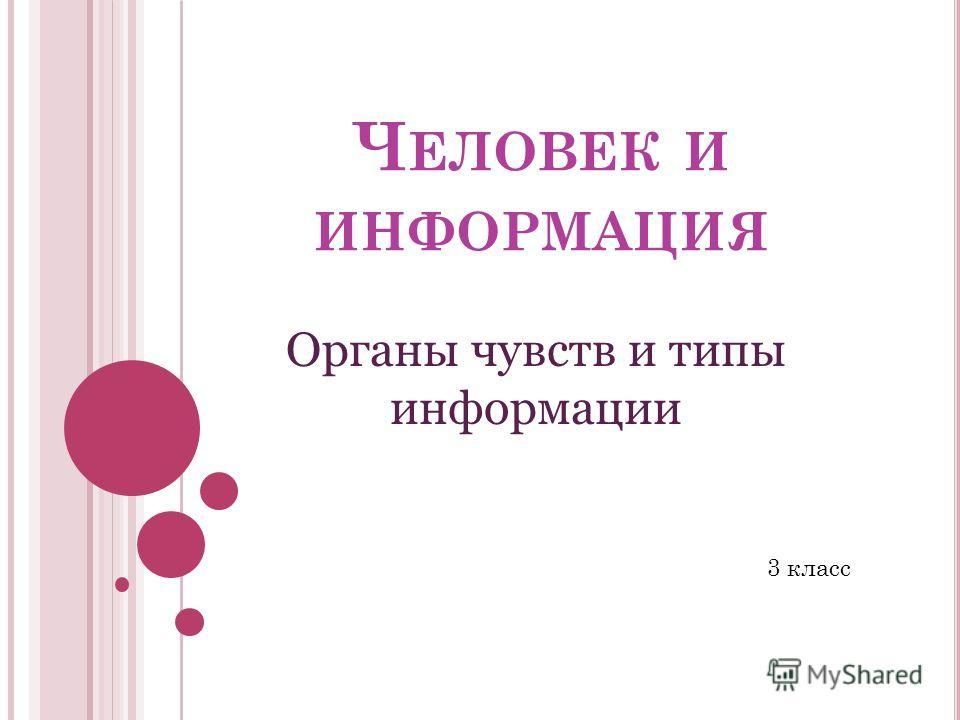 Ч ЕЛОВЕК И ИНФОРМАЦИЯ Органы чувств и типы информации 3 класс