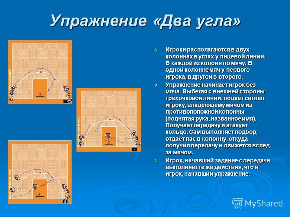 Упражнение «Два угла» Игроки располагаются в двух колоннах в углах у лицевой линии. В каждой из колонн по мячу. В одной колонне мяч у первого игрока, в другой в второго. Игроки располагаются в двух колоннах в углах у лицевой линии. В каждой из колонн