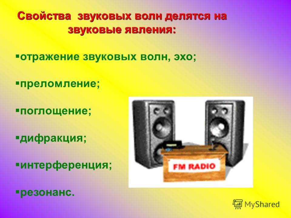 Свойства звуковых волн делятся на звуковые явления: отражение звуковых волн, эхо; преломление; поглощение; дифракция; интерференция; резонанс.